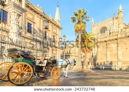 A closeup of a details of cathedral in Sevilla in Andalusia, Spain. - stock photo