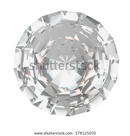 A closeup of a diamond on a white background.