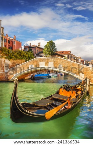A closeup of a gondola in Venice, Italy - stock photo