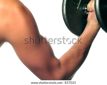 A closeup of a man's arm doing bicep curls. (excercise)
