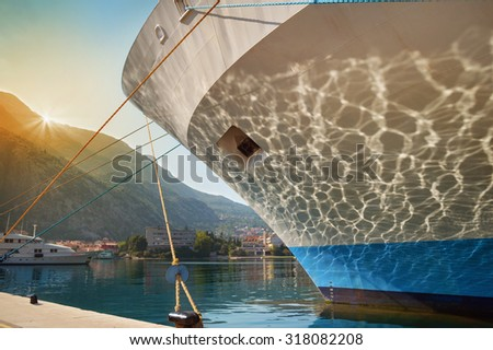 A closeup of a ship's prow in Montenegro - stock photo