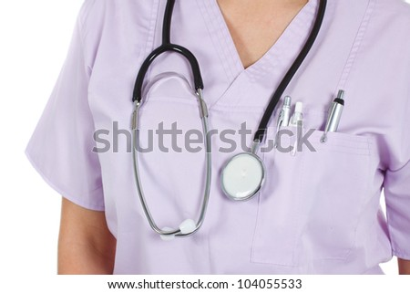 A closeup of a stethoscope worn round a female doctor's neck, who is wearing light purple uniform - isolated on white
