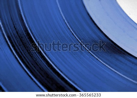 A closeup of a vinyl record's grooves transformed into a blue toned abstract pointillism style painting