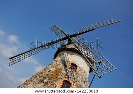 A closeup of a windmill - stock photo