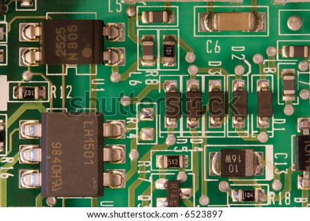 a closeup of an electronic circuit board