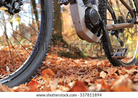 A Closeup of E-Mountain Bike with motor and gearbox - stock photo