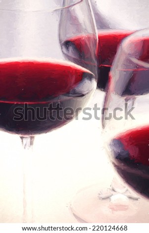 A closeup of glasses of red wine. Image is rendered as if it was an oil painting. - stock photo