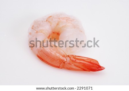 A closeup of shrimp on a white background.