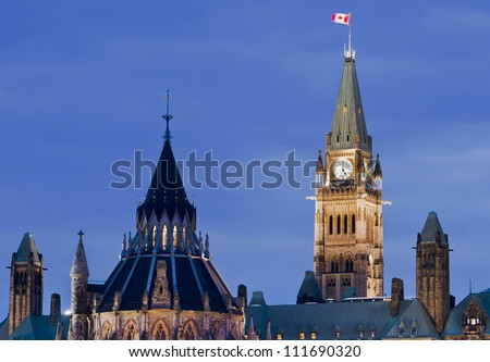 A closeup of the canadian Parliament and library architecture at 5:00 p.m. in Ottawa, Canada.