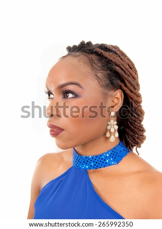 A closeup picture of a beautiful African American woman wit breaded