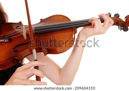 A closeup picture of a woman playing the violin, isolated for white background.  - stock photo