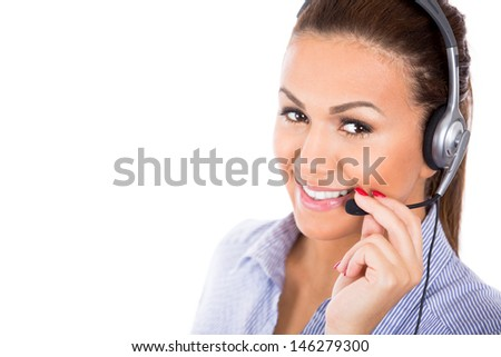 A closeup portrait of a beautiful female customer service representative or operator or help desk support staff wearing a head set isolated on a white background