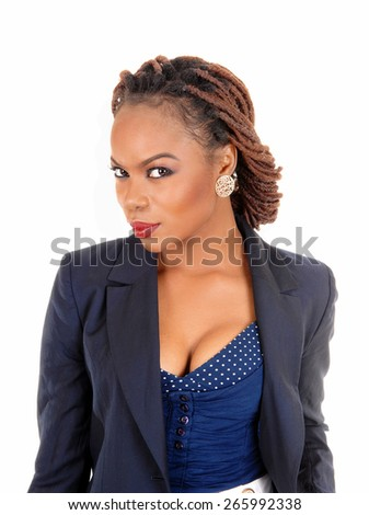 A closeup portrait of a pretty African American women in a dark blue jacket