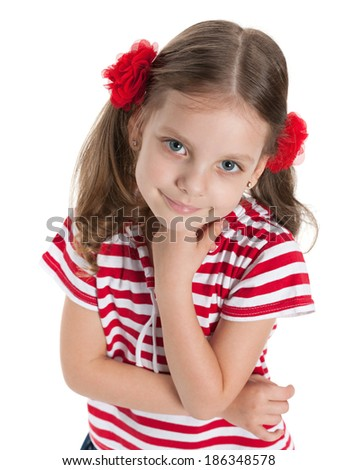 A closeup portrait of a smiling pretty preschool girl on the white background - stock photo