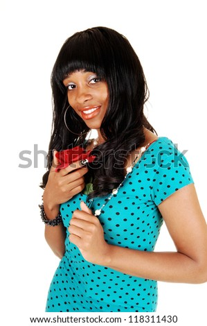 A closeup portrait on a African American woman with a red rose in her hand, with her long curly black hair for white background. - stock photo