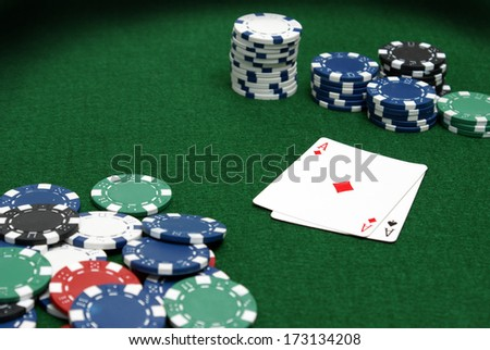 A closeup shot of a game of cards at the pro tables. - stock photo