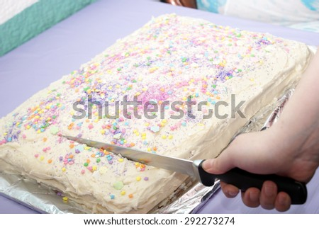 A closeup shot of a woman cutting the cake at this celebratory event.