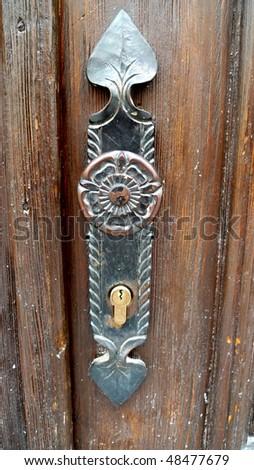 A closeup shot of door nob. - stock photo