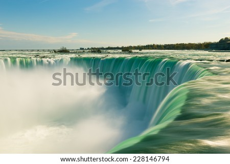 A closeup to the Horseshow Falls during the day  - stock photo