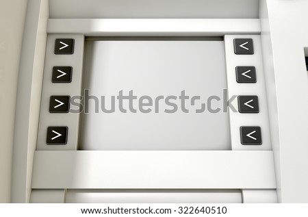 A closeup view of a blank generic atm screen - stock photo