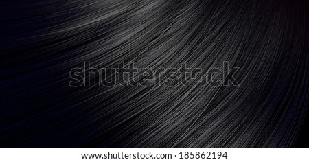 A closeup view of a bunch of shiny straight black hair in a wavy curved style - stock photo