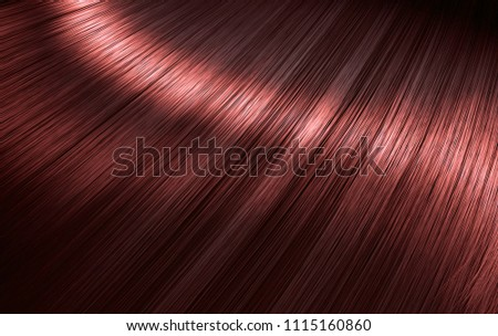 A closeup view of a section of glossy straight red hair in a wavy style - 3D render