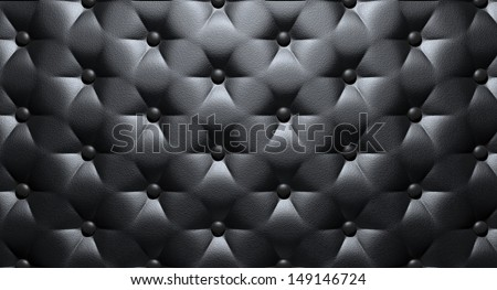 A closeup view of black luxury buttoned leather - stock photo