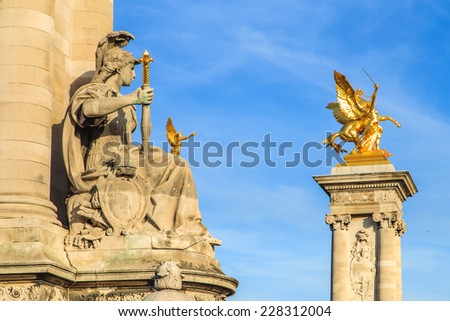A closup of a details of  Alexandre 3rd Bridge in Paris, France - stock photo