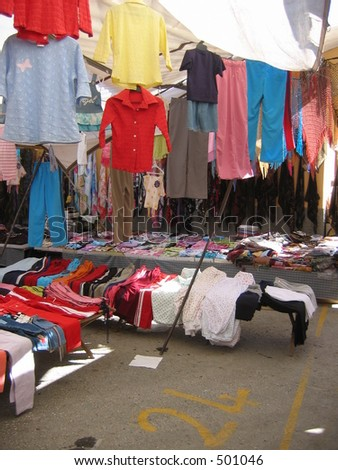 A clothes shop at a market place in Turkey - stock photo