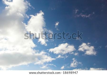 A cloud background, blue sky, white cloud - stock photo