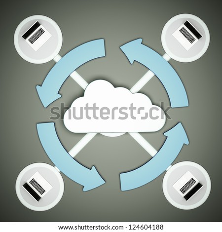 a cloud computing concept, 3d render - stock photo