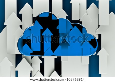 a cloud with arrows as a background - stock photo