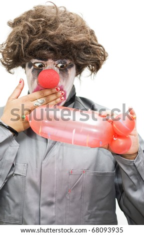 A Clown Gasps In Shock After Creating A Phallic Symbol Out Of A Balloon Evocatively Inspired By A Naughty Thoughty