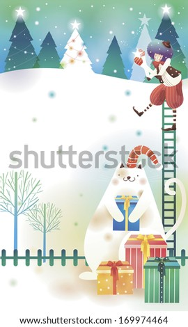 A clown standing on a ladder with a large cat below. - stock photo