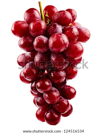 A cluster of red grapes isolated on white background - stock photo