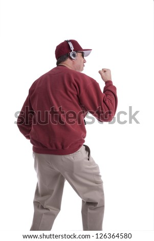 A coach pumping his fist to encourage his players isolated on white