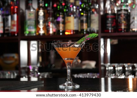 a cocktail at the bar - stock photo