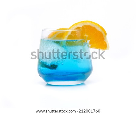 a cocktail of blue called blue lagoon  - stock photo