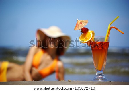 A cocktail on the sea - stock photo