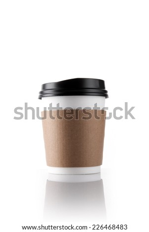 A coffee cup for take out with brown paper holder isolated white.