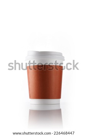 A coffee cup for take out with red paper holder isolated white.
