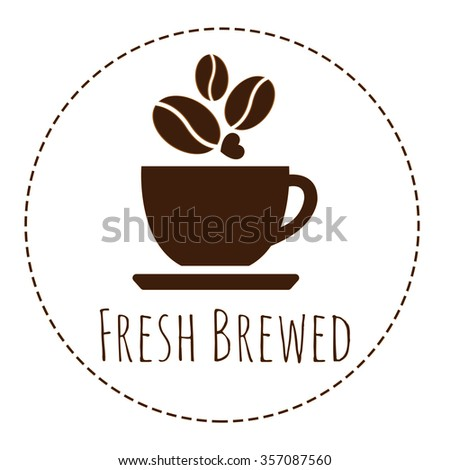 "a coffee cup logo with word ""Fresh Brewed"""