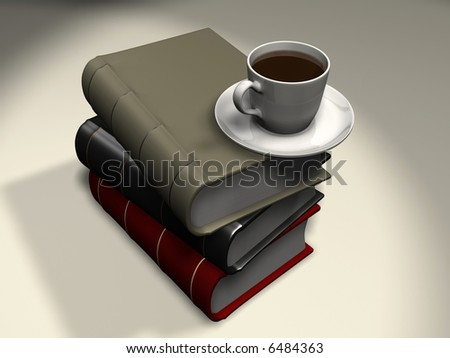 A coffee cup on stack of book - 3d render