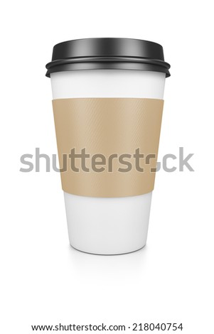 A coffee to go isolated on a white background - stock photo