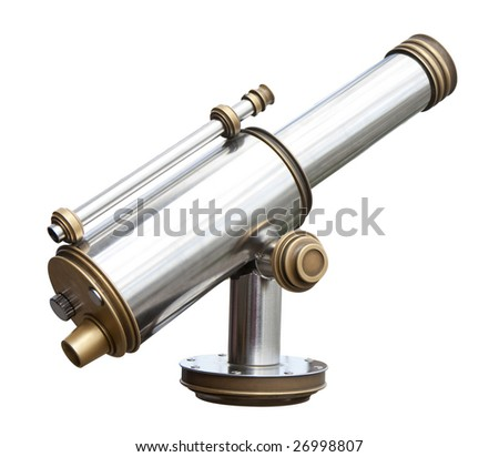 A coin operated monocular isolated on white - stock photo