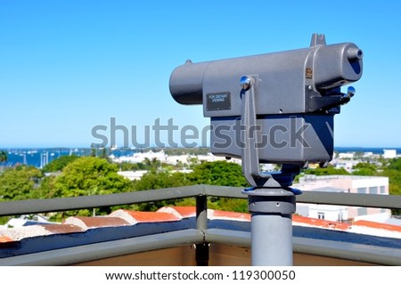 A Coin Operated Telescope For Distant Viewing Atop A Building Overlooking Key West, Florida, And The Atlantic Ocean