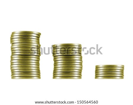 A coin stack isolated against a white background - stock photo