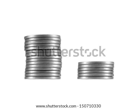 A coin stack isolated against a white background