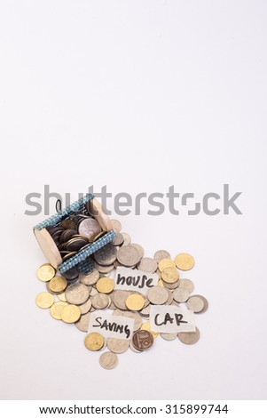 "A coins money from small box with white background and write wording ""saving"", ""car"", ""house"" - stock photo"