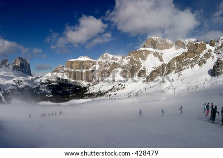 A cold day skiing - stock photo